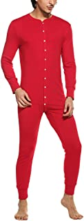 Hotouch Men's One Piece Pajama Long Thermal Union Suit Button Down Pajamas S-XXL
