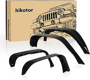 hikotor Heavy Duty Front Rear Flat Textured Steel Fender Flare kit Off Road Mud Guards Black Set of 4 Replacement for Jeep Wrangler 2007-2018 JK & JKU Unlimited (2/4 Doors)