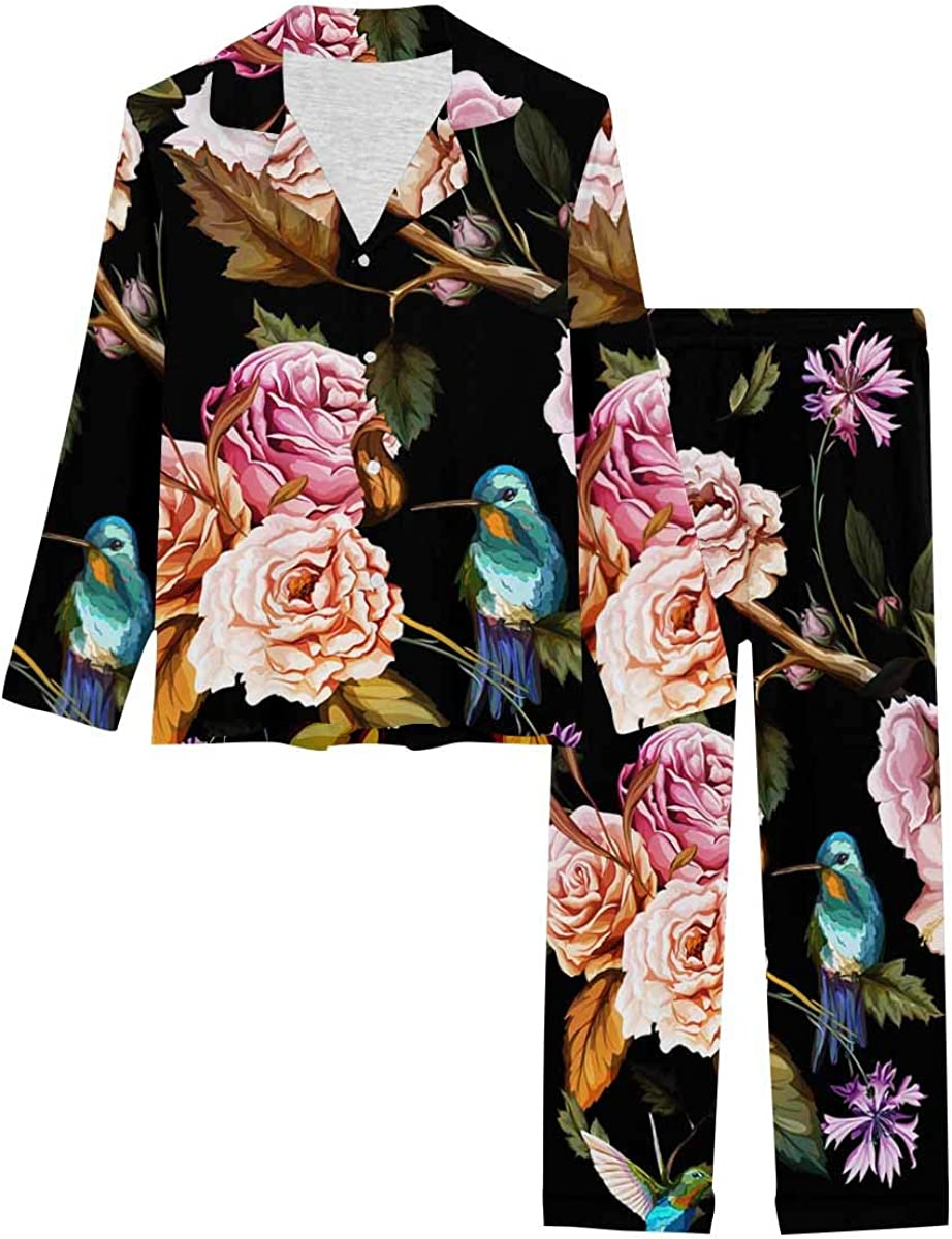 InterestPrint Soft Nightwear Loungewear with Long Pants Pajamas Set Pattern of Carnation Flowers, Roses