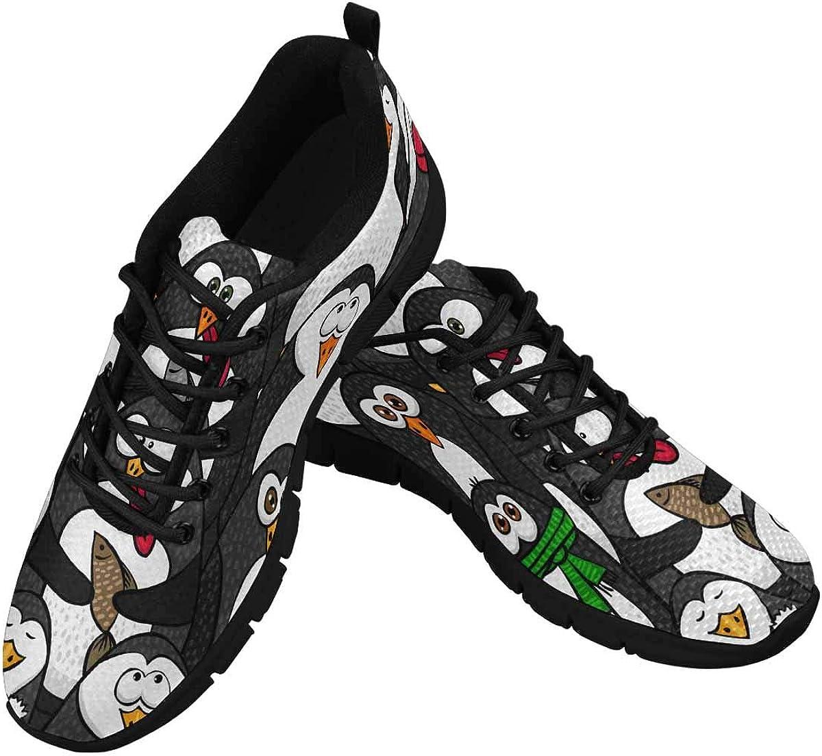 InterestPrint Funny Black Penguins Women's Breathable Non Slip Sneakers