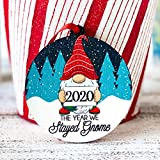 Lplpol 2020 The Year We Stayed Gnome Christmas is Gnoming Gnomie Christmas Tree Ornament Gnome Gift Under 20 Gnome Decor