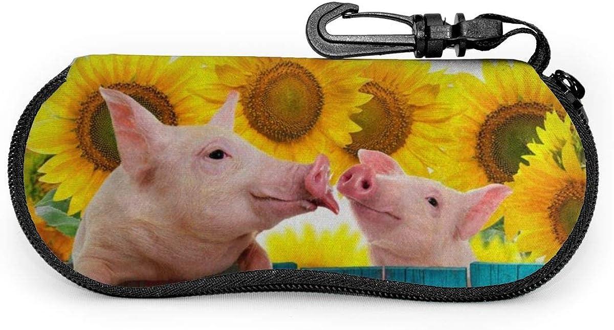 Funny Pig Hanging On Fence Sunglasses Soft Case Ultra Light Neoprene Zipper Eyeglass Case With Key Chain