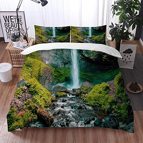 bedding - Duvet Cover Set, Waterfall Flowing Stream Mountain Green Forest Nature Landscape Picture Print,Microfibre Duvet Cover Set 240 x 260 cmwith 2 Pillowcase 50 X 80cm