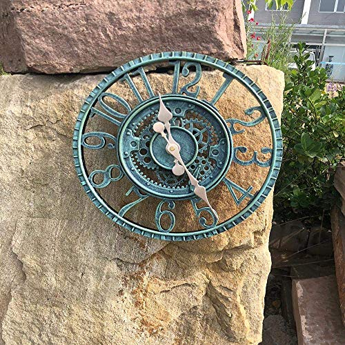 Lifattitude Große 30 cm wasserdichte Garten-Ornament Uhr Outdoor Garten Wanduhr Open Face Hollow Gear Vintage wetterfest Uhr (grün)