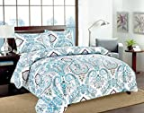 Tache Home Fashion Tache 3 Piece Frozen Forest Blue Paisley Duvet Cover Set, Full