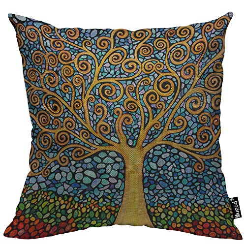 Mugod Tree of Life Pillow Cover Mosaic Art Leaf Branch Rainbow Color Nature Elegance Decorative Throw Pillow Cases Cotton Linen Indoor Square Cushion Covers 18x18 Inch for Home Sofa Couch
