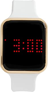 Unisex Digital Watch LED Screen Large Face Silicon Band with Scrolling Message and Alarm Settings - 8231