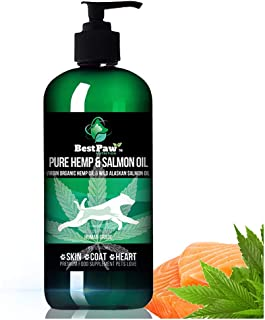 New! Salmon Oil with Hemp for Dogs & Cats - Shiny Coat for Dry Itchy Skin - Wild Alaskan Salmon Fish Oil - Joint Supplement, Allergy Medicine Organic Omega - Arthritis & Itch for Cat and Dog Coat