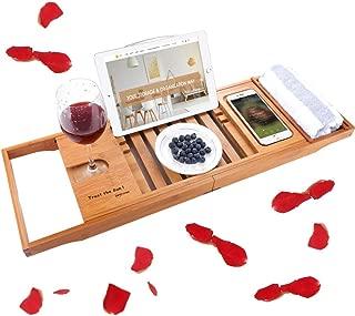 SUNFICON Bamboo Bathtub Caddy Bath Tray Bath Tub Reading Shelf Rack Organizer, Extending Sliding Side Mug/Wineglass/Phone Holder, Metal Frame Book/Pad/Tablet Holder Waterproof Cloth Non Slip Rubber