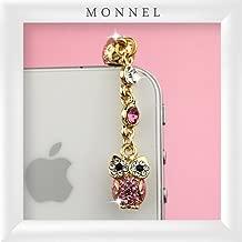 Ip463b Cute Pink Crystal Owl Mobile Phone Anti Dust Plug Phone Charm