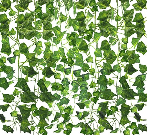 Amerisky Artificial leaves Ivy Garland,12 Strands (84 Ft) Fake Hanging Vine Green Leaves Foliage Plants for Wedding Garland Home Garden Wedding Party Wall Decor
