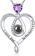I Love You Necklace 100 Language October Birthstone Pink Tourmaline Jewelry for Teen Girls Birthday Necklace for Women Sapphire Amethyst Sterling Silver