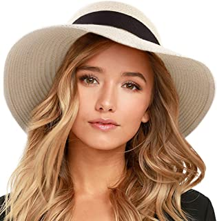 Womens Beach Sun Straw Hat UV UPF50 Travel Foldable Brim Summer UV Hat