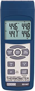 REED Instruments SD-947 SD Series Thermocouple Thermometer, Data Logger, 4 Channel, Type K, J, R, S, E, T and RTD