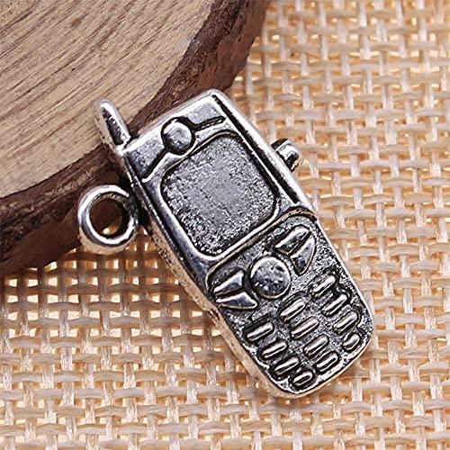 WANM Colgante 5 Uds 24X16Mm Encantos De Teléfono Celular De Color Plateado Antiguo para Hacer Joyería DIY Joyería Hecha A Mano DIY