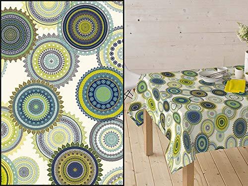 HuleHule Mantel Tela Resinada Antimanchas Estampado Círculos Mandalas Colores Azul, Verde, Amarillo sobre Fondo Blanco (140_x_250_cm)