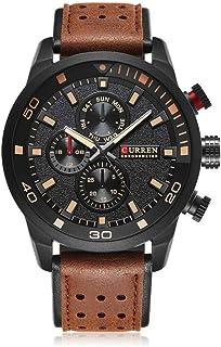 Curren 8250 Men's Sport Watches Quartz Movement Leather Band Wristwatch - Black