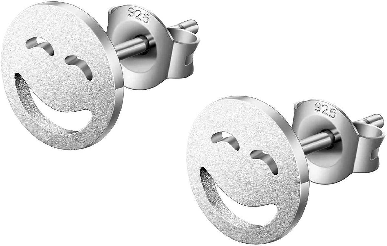 KINIVA Pendientes de plata 925 médicos hipoalergénicos de plata auténtica joyas regalos para niñas mujeres (estrella/luna/smiley, plata/oro rosa)