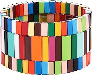 PHALIN Enamel Tile Bracelets Rainbow Tile Bead Bracelet for Women Men Elastic Stackable Colorblock Strand Stretch Bracelet...