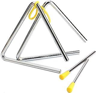 2 Piezas Triángulo Instrumento Musical, 5 Pulgadas Triangulo Percusion Instrumentos Musicales para Percusión y Educación M...