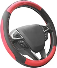 SEG Direct Black and Red Microfiber Leather Auto Car Steering Wheel Cover Universal 15 inch