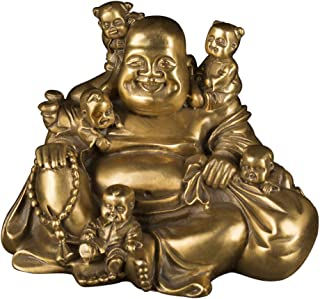 Brass Statu Chinese Fengshui Laughing Buddha Sitting with 5 Children Statue Attracting Happiness in Family Decoration Collection ZD066