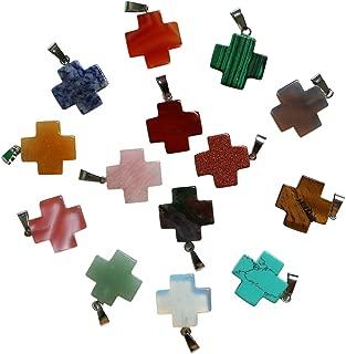fubaoying 10pcs Cross Shape Gemstone Pendant for Necklace Healing Crystal Quartz Chakra Beads for DIY Jewelry Making 20x20mm