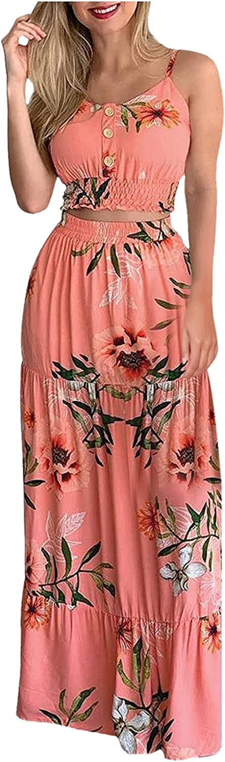 iQKA Women's Two Piece Outfits Tropical Floral Print Camisoles and Long Skirt Suit Summer Casual Beach Holiday Loungewear