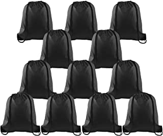 12 Pcs Drawstring Backpack Bags Sport Gym Sack Cinch Bags Bulk for School Traveling and Storage (Black)