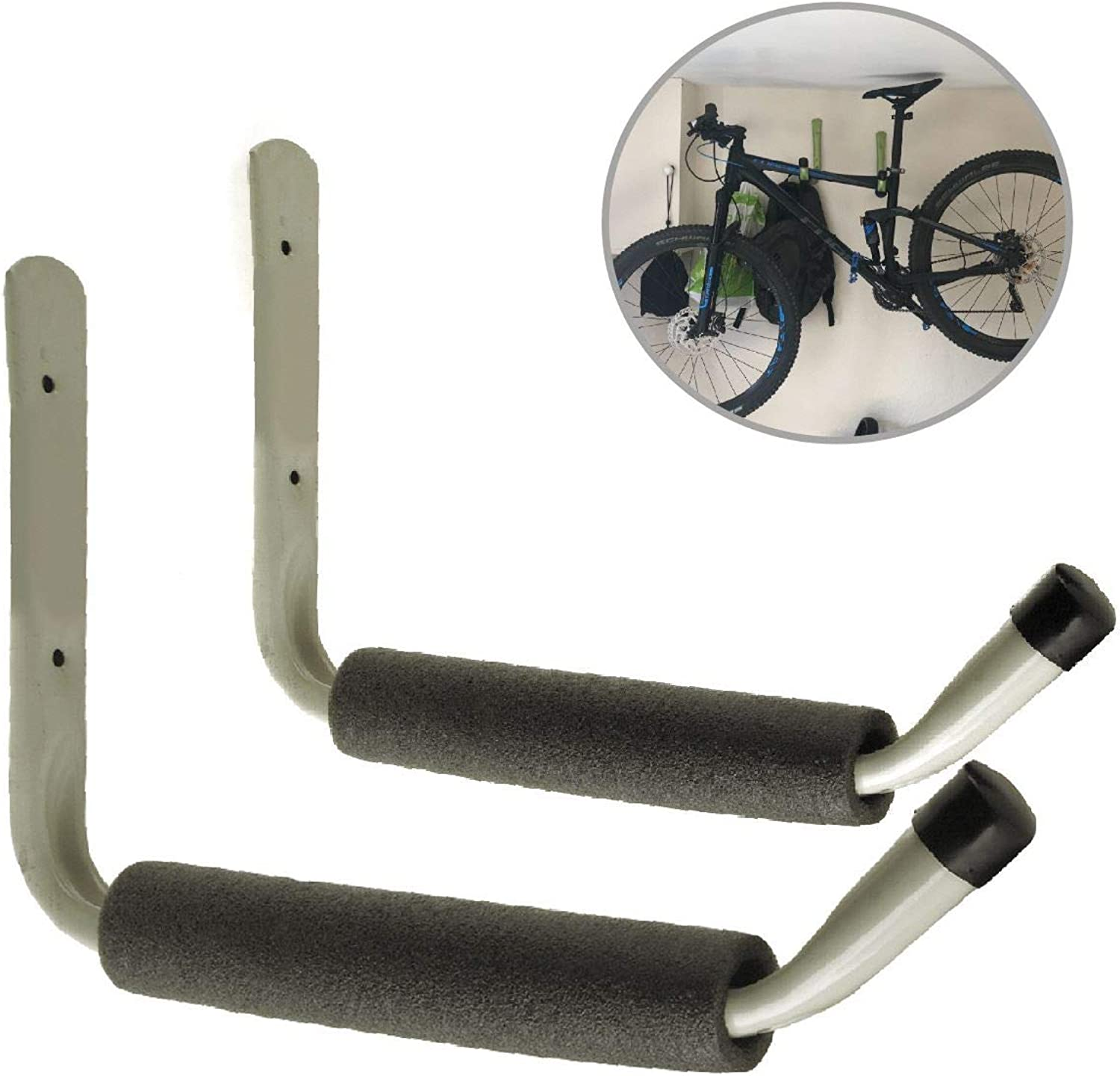 2 x Giant Padded Wall Hooks Ideal for Mountain Bikes, Canoes & Kayak Boats