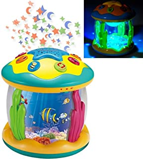 Haktoys 2-in-1 Activity Toy & Night Lamp Sky Constellation Rotating Projector Fun Learning Entertaining Educational Play | Music (On/Off) and Flashing Lights, Safe and Durable,Gift for Toddlers & Kids