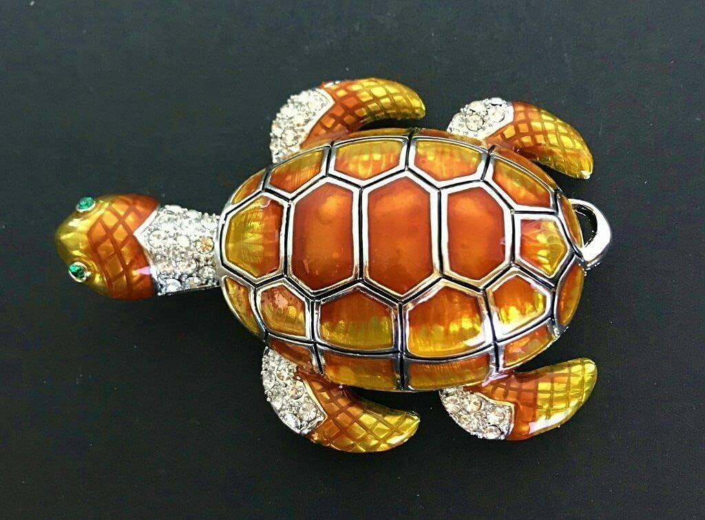 Detailed Rhinestone Superlatite Orange Sea Turtle Import Belts Belt Buckle Buckles