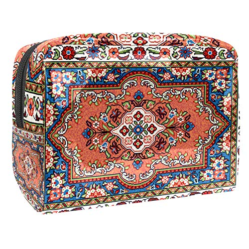 Bolsa de Maquillaje Bolsas de Aseo Organizador de cosméticos Bolsa con Cremallera para Mujer Alfombra Sarouk de Mosaico Oriental Colorido