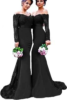 Burgundy Lace Prom Dress Mermaid Long Bridesmaid Dresses Off Shoulder Long Sleeve Wedding Evening Dress