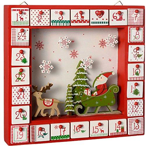 WeRChristmas–Calendario dell'Avvento in legno, decorazione natalizia a forma di Babbo Natale, Legno, multicolour, 30.5 x 5 x 28 cm