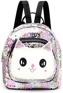Sequin School Backpack for Girls Kids, Hamkaw Cute Flip Glitter School Bookbag Toddler Lightweight Travel Backpack