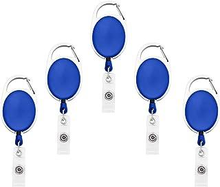 Fushing Lot de 5Porte-Badges Enrouleurs avec Fil Rétractable à Clipser  bleu
