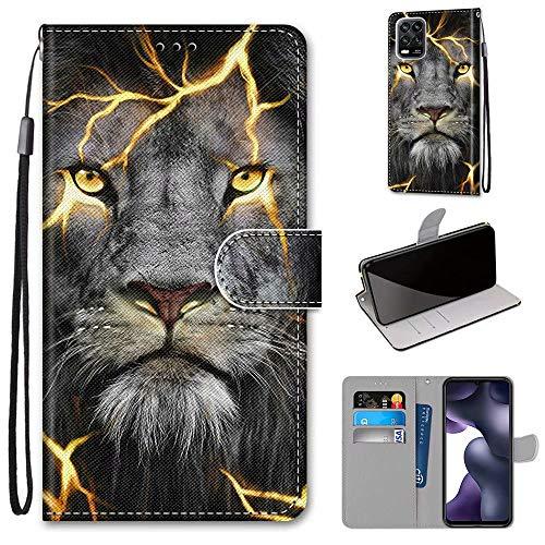 Miagon Flip PU Leder Schutzhülle für Xiaomi Mi 10 Lite,Bunt Muster Hülle Brieftasche Case Cover Ständer mit Kartenfächer Trageschlaufe,Wütend Löwe