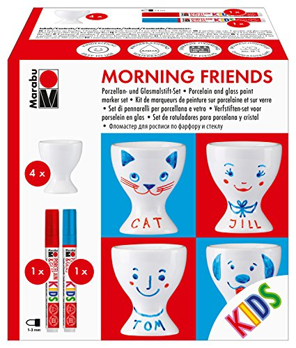 Marabu Porcelain Morning Friends Egg Cup Paint Marker Set, Ceramic, White, 12.5 x 7.5 x 12.5 cm