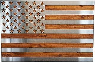 Metal Art of Wisconsin Metal Art US Flag Metal Decor, Patriotic Wall Art, Hand Oiled Pine Polished 4 Foot