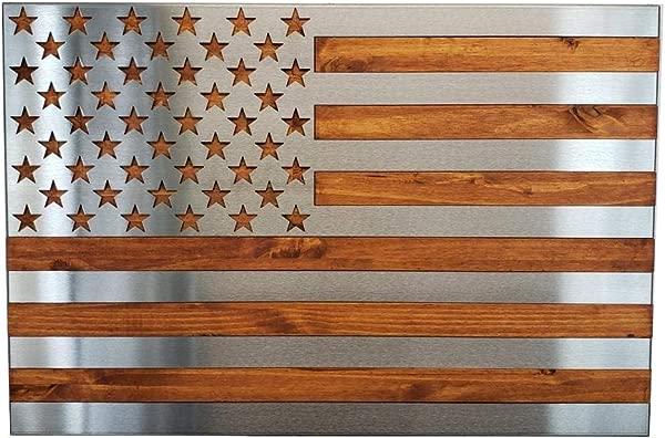 Metal Art Of Wisconsin Metal Art US Flag Metal Decor Patriotic Wall Art Hand Oiled Pine Polished 3 Foot