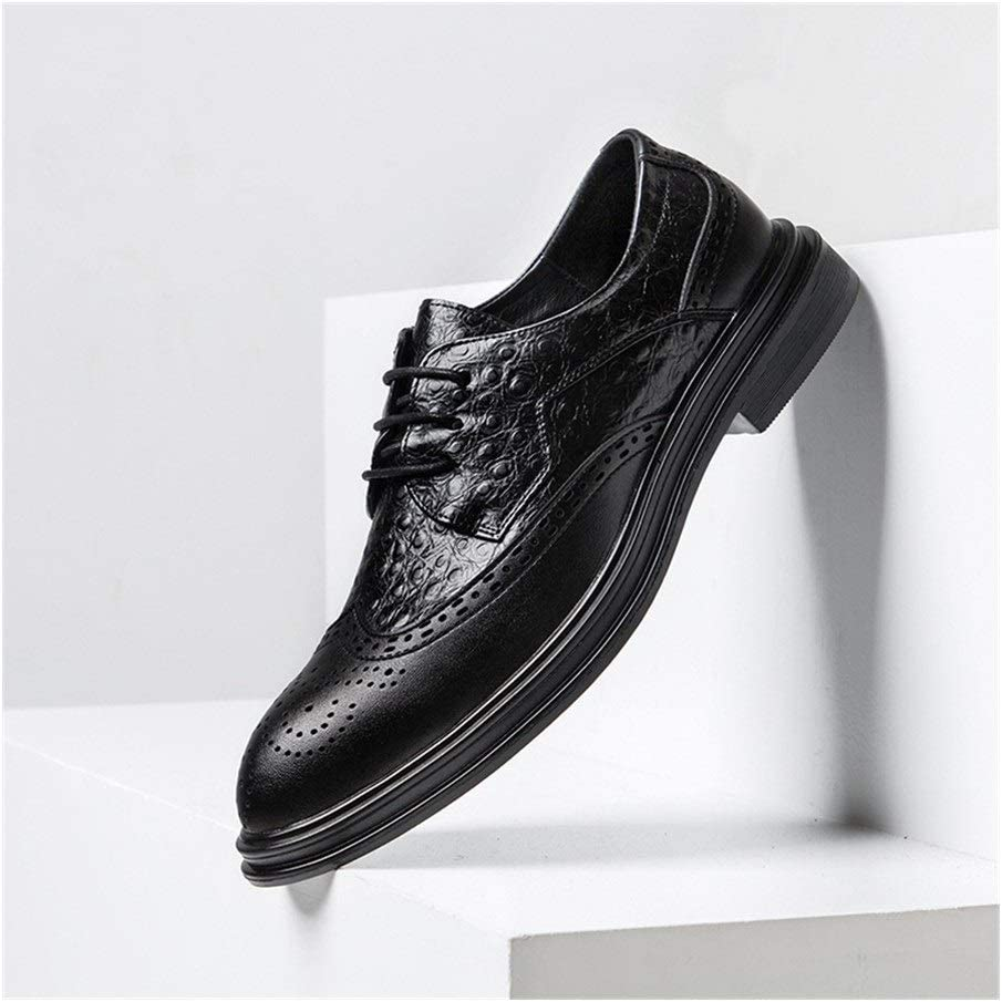 Wingtip Oxfords for Men Lace Up Style Imitation Crocodile Skin Brogue Synthetic Leather Formal Dress Men' s Fashion Shoes Men's Casual Leather Shoes (Color : Black, Size : 38 EU)