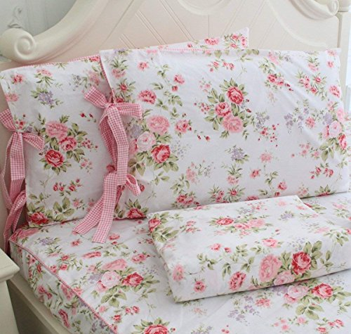 FADFAY Cotton Bed Sheets Set Shabby Rose Floral Print Sheet Bedding 4-Piece Twin Size