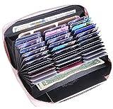 Easyoulife Womens Genuine Leather Credit Card Holder Wallet RFID Secure 36 Slots (Pink)