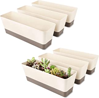 6 Pack Window Box Planter, Greaner 12x3.8 Inch Rectangle Herb Planter with Saucer, Modern Indoor Small Succulent Cactus Pl...
