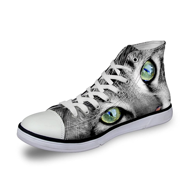[ThiKin] 3Dプリント スニーカー キャンバス 猫 カジュアル 靴 シューズ 動物柄 人気 個性的 軽量 通気 おしゃれ ファッション 通勤 通学 プレゼント ブラック レディーズ メンズ
