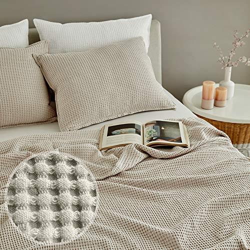 Marseille Home und Decor L Naturstoff Modal Waffel Decke Weben mit reiner Baumwoll-Mischung Modal Stoff aus Buchenbaum, King Size (208,3 x 266,7 cm), Beige, hergestellt in Korea