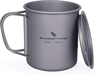 Boundless Voyage Titanium Cup with Lid Outdoor Camping Ultralight Water Tea Coffee Mug 300ml/10.14 fl oz