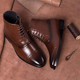 Oxford Hommes Bottes en cuir à glissière latérale lacent Hommes High Top Chaussures richelieu homme richelieu en cuir euro...