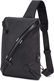 Crossbody Bag Men's Fashion Chest Bag Leisure Sports Bag Black Small Backpack Outdoor Shoulder Bag with USB Charging Port
